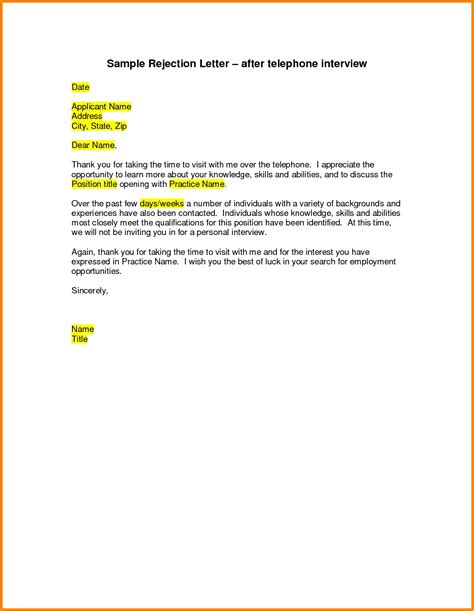Rejection Letter Title Rejection Letter After Exles Resume Cover Letter Template