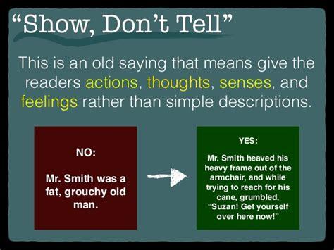 Mr Armchair Quot Show Don T Tell Quot