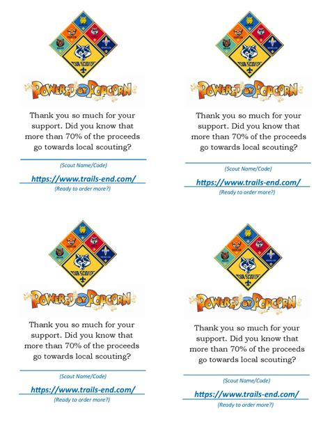 Cub Scout Business Card Template by Cub Scout Popcorn Thank You For Your Support Card Free