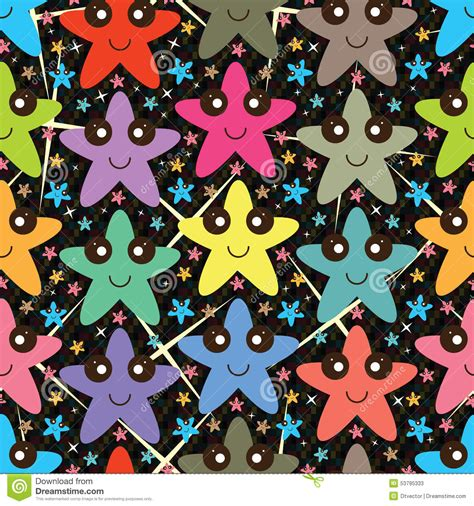 wallpaper abstract cartoon star happy colorful seamless pattern stock vector image
