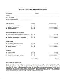 Peer Essay Evaluation Form evaluation forms