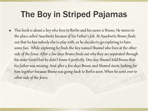 the boy in the striped pyjamas book report the boy in the striped pajamas project
