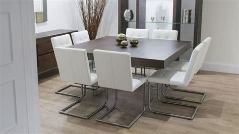Dining Room Table Seats 8 Contemporary Square Dining Room Table For 8 Seats With Glass Shelves And Wooden Floor Nytexas