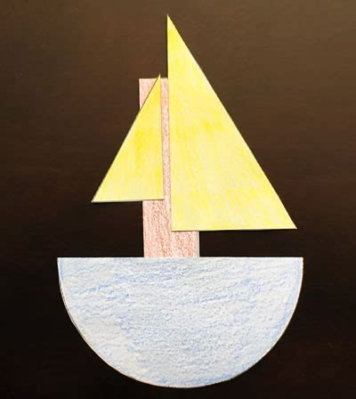how to draw a boat using shapes halves boat preschool craft