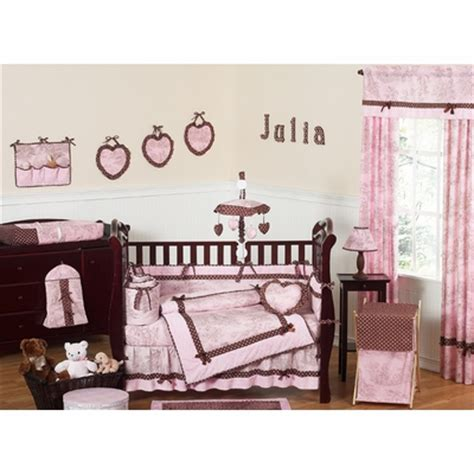 Pink Brown Crib Bedding Pink Brown Toile Crib Bedding Collection