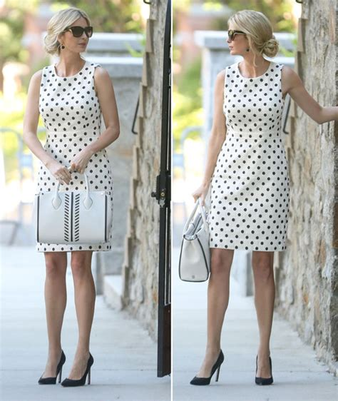 Ivanka Black Dress ivanka flashes bare legs in polka dot j crew dress