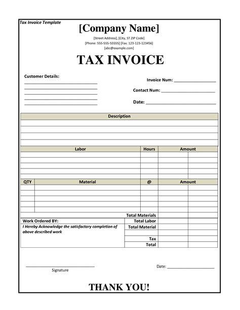 basic tax invoice template invoice template ideas