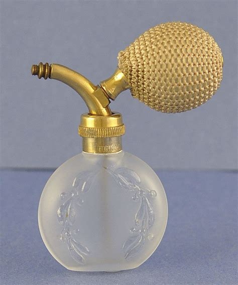 perfume bottle with holly vintage clear frosted glass atomizer perfume bottle with from rubylane sold on ruby