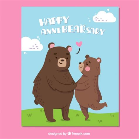 Wedding Anniversary Cards Vector Free by Anniversary Card With Bears Vector Free