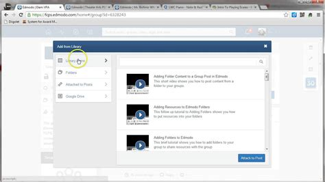 edmodo library tutorial posting folder resources from the library to an edmodo