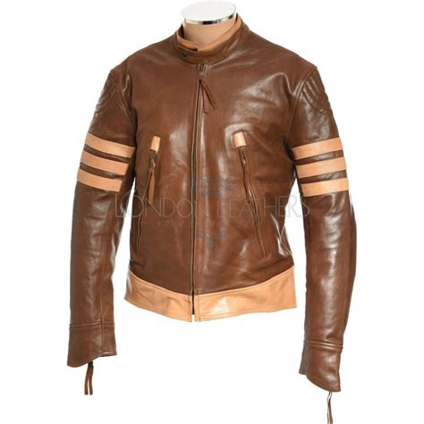 Jaket Wolverine Brown logan wolverine xmen brown leather jacket