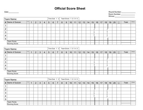 Basketball Score Sheet Download Free Documents For Pdf Word And Excel Quiz Competition Score Sheet Template