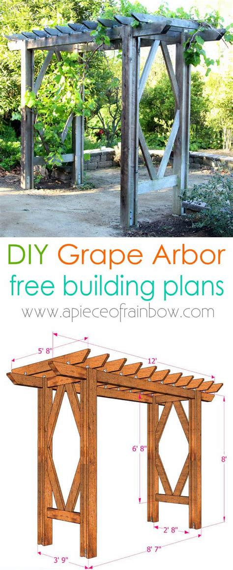 diy arbor trellis diy grape arbor free building plan a of rainbow