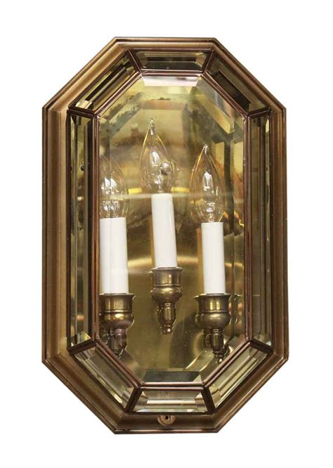 Glass Wall Sconce Three Arm Beveled Glass Wall Sconce Olde Things