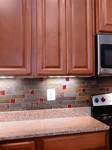 Slate Tile Kitchen Backsplash by Brazilian Rusty Slate Subway Glass Backsplash Tile
