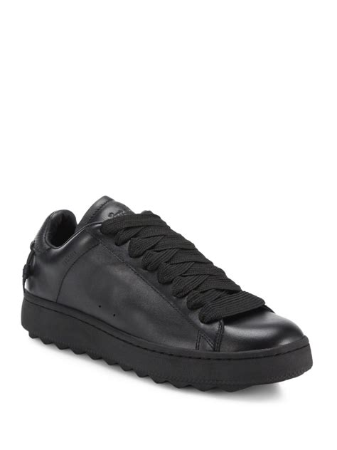black sneakers coach leather sneakers in black for lyst