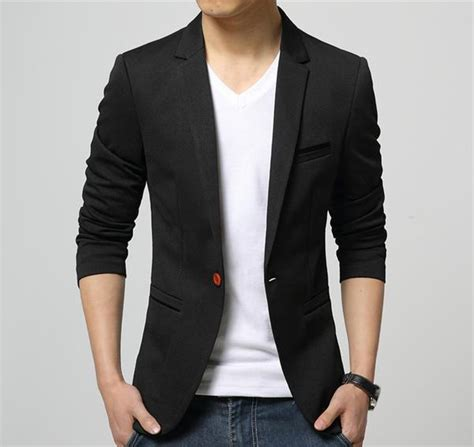 Style Blazer Pria Black D mens american slim fit fashion cotton blazer all in one place with us