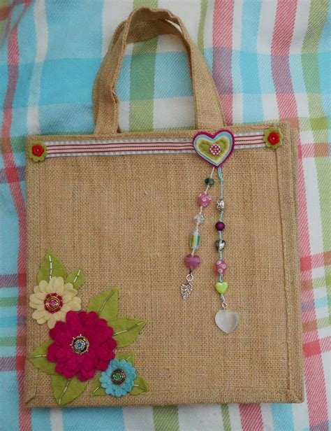 Handmade Bags Design - jute bag flower design by mckay 14 bags bags