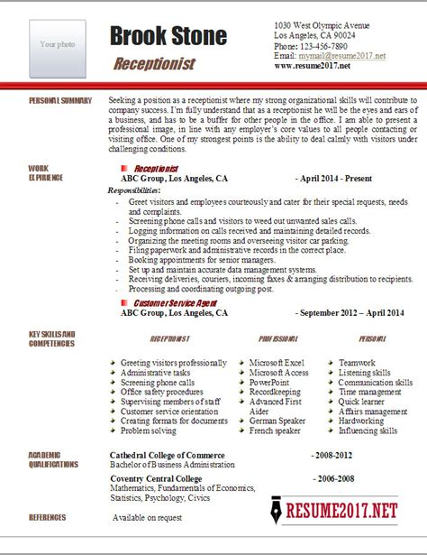 Receptionist Description Resume by Resume Receptionist Receptionist Description Resume