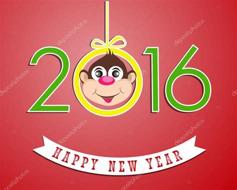 new year of the 2016 happy new year 2016 year of the monkey stock vector