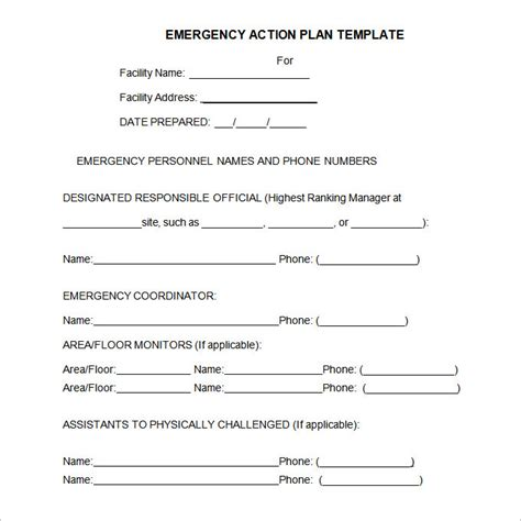 Emergency Plan Template by Pin Emergency Plan Template On