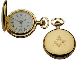 pocket gold plated masonic quartz