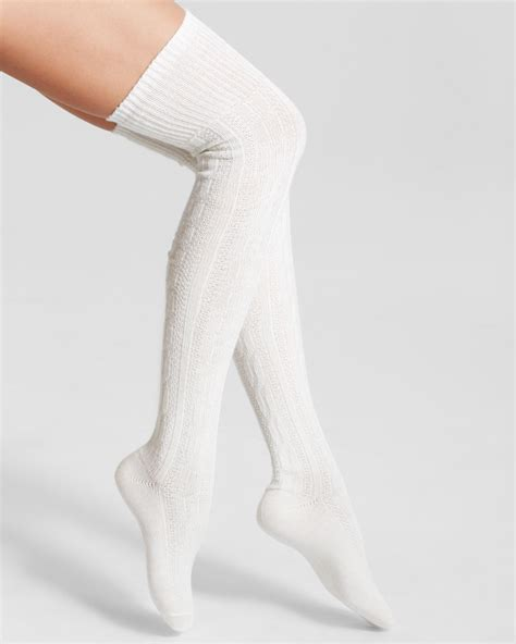 cable knit knee socks hue chunky cable knit the knee socks in white ivory