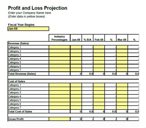 template trading profit and loss account template startup pro