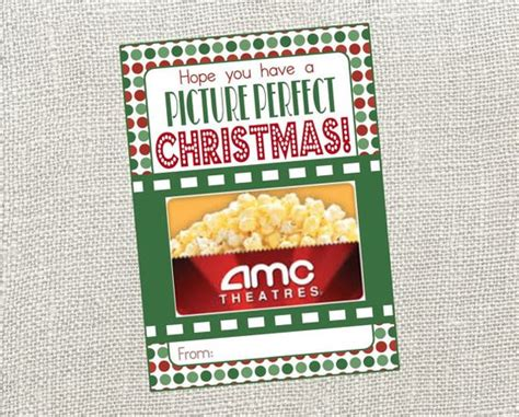 Movie Theatres Gift Cards Christmas - picture perfect christmas card perfect card for movie gift certificate movie themed