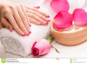 Lily Flower In French - manicure with fragrant rose petals and towel spa royalty