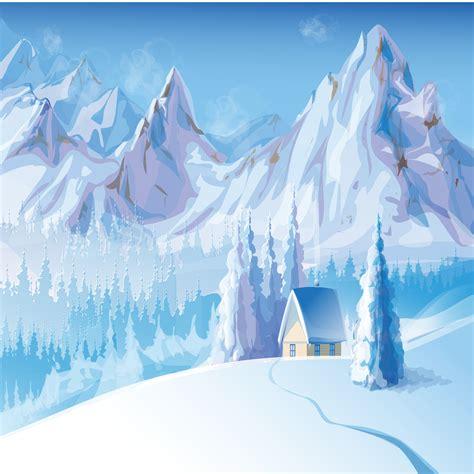 cartoon snow mountain house background cartoon snow