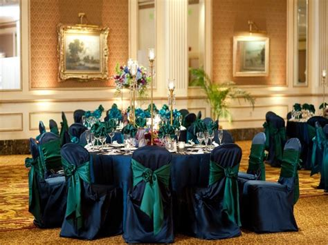 Navy Chair Covers Wedding by Peacock Green And Navy Blue Wedding Reception Linens And Chair Covers Salones