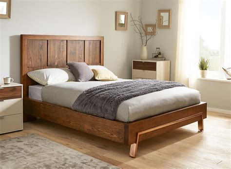 wood frame bed grant dark wood and copper bed frame dreams