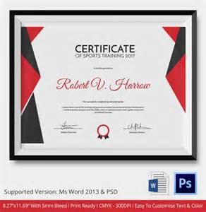 sports certificate template 6 word psd format download