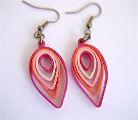 Earrings With Paper - shades of pink leaf paper quilling earrings by
