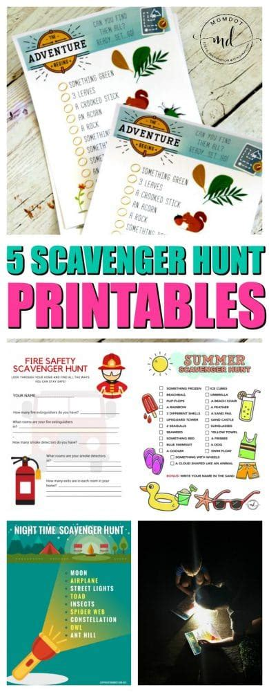 scavenger hunt ideas  kids   printable sheets
