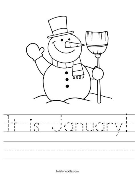 printable january worksheets it is january worksheet twisty noodle
