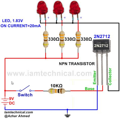 transistor npn pnp switch npn transistor 2n2712 as a switch iamtechnical