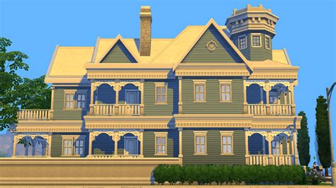 Easy To Build House Plans sims 4 blue victorian house by ramborocky on deviantart