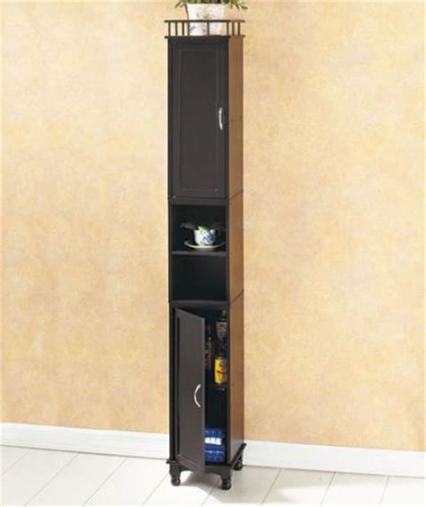 slim bathroom cabinet storage black 65 quot slim wooden storage cabinet organizer shelf