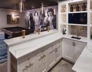 U Shaped Bar Basement Bar With Built In Shelves Transitional