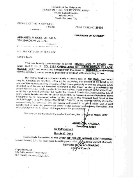 How To Get A Copy Of Arrest Record Get A Copy Of Warrant Find Ex Palawan Gov His Brod