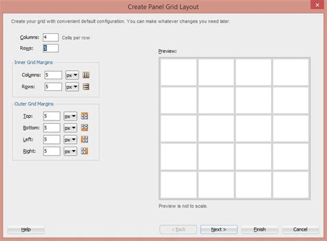grid box layout using panel grid layout in oracle adf faces ui for perfect