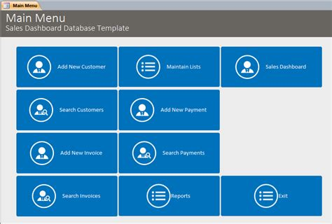 Microsoft Access Sales Dashboard Template Database Access Sales Database Template