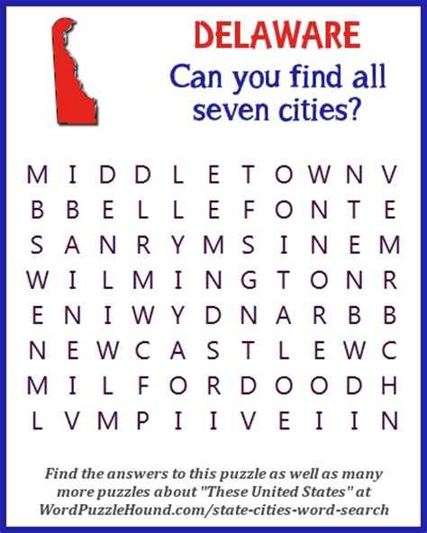 Ud Search State Of Delaware Cities Word Search Word Puzzle Hound