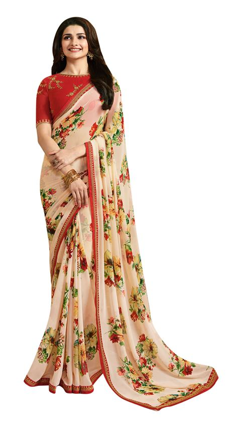 Floral Print Blouse Material For Saree by Floral Printed Saree With Embroidered Border And Blouse