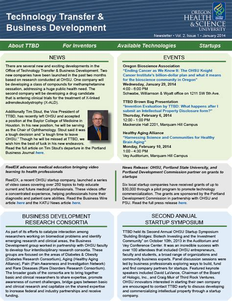 Transfer Newsletter ohsu technology transfer and business development