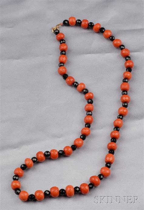 onyx bead necklace coral and onyx bead necklace sale number 2487 lot
