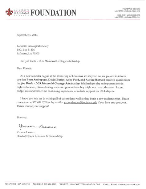 Acceptance Letter For Fellowship Scholarship Acceptance Letter Cover Letter Thank