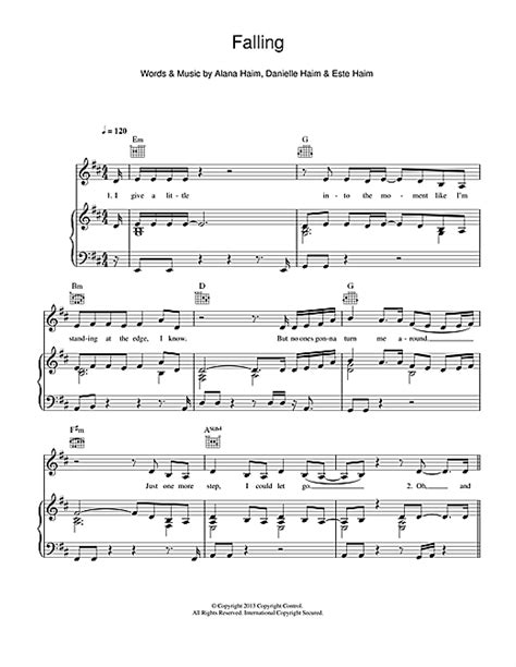 lyrics haim falling sheet by haim piano vocal guitar right